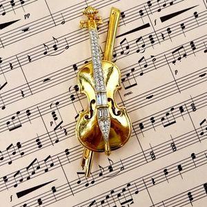 SWAROVSKI CRYSTAL PIN Violin & Bow Swan Mark